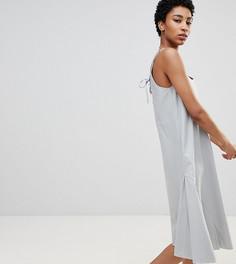 Свободный сарафан миди со шнуровкой на спине ASOS DESIGN Tall - Синий