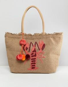 Структурированная пляжная сумка с вышитым вручную омаром America & Beyond - Мульти