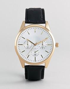 Золотистые часы с черным ремешком Burton Menswear - Черный