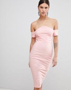 Платье-футляр с открытыми плечами Vesper - Розовый