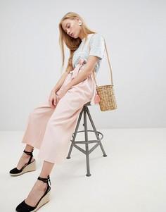 Льняные кюлоты с завязкой на поясе и отворотами ASOS DESIGN tailored - Розовый