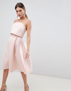 Платье-бандо миди для выпускного с кроп-топом ASOS DESIGN - Розовый