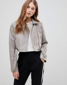Байкерская куртка из искусственной кожи ASOS DESIGN - Серый