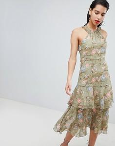 Платье с цветочным принтом, халтером и оборками Vila - Мульти