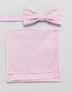 Галстук-бабочка и платок для нагрудного кармана из легкой жатой ткани Gianni Feraud - Розовый