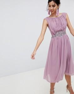 Платье макси с отделкой камнями Little Mistress - Розовый
