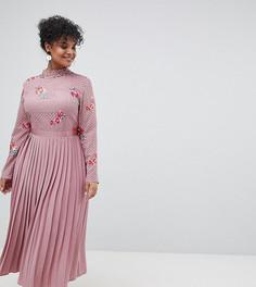Платье с вышивкой и плиссированной юбкой Little Mistress Plus - Розовый