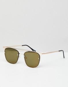 Солнцезащитные очки в стиле ретро в золотистой оправе с зелеными стеклами ASOS DESIGN - Золотой