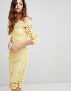 Платье кроше с открытыми плечами и рюшами на рукавах Paper Dolls - Желтый