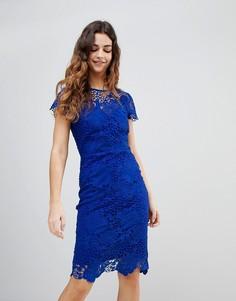 Кружевное платье-футляр с вырезом сердечком и короткими рукавами Paper Dolls - Синий