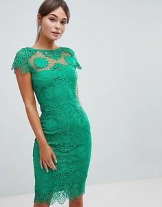 Платье-футляр из кружева кроше с короткими рукавами Paper Dolls - Зеленый