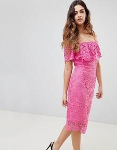 Кружевное платье-футляр с широким вырезом и оборкой Paper Dolls - Розовый