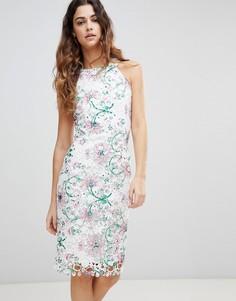 Кружевное платье-футляр без рукавов с принтом Paper Dolls - Мульти