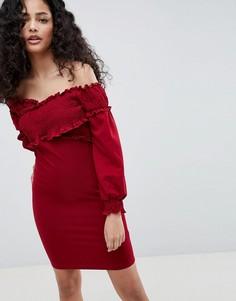 Платье с открытыми плечами и драпировкой Parisian - Красный