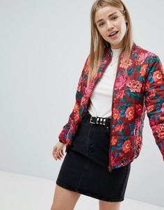 Дутая куртка с цветочным принтом ASOS - Мульти