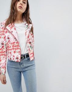 Байкерская куртка из искусственной кожи с цветочным принтом ASOS DESIGN - Мульти