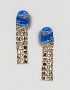 Серьги-подвески с искусственным камнем ASOS - Золотой