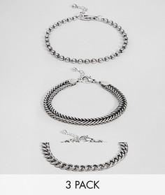 Набор серебристых браслетов-цепочек ASOS DESIGN - Серебряный