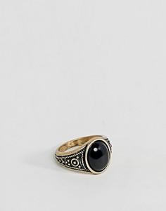 Золотистое кольцо на мизинец с черной эмалью ASOS DESIGN - Золотой