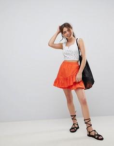 Хлопковая мини-юбка с запахом ASOS DESIGN - Оранжевый