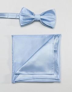 Голубой атласный галстук-бабочка и платок для пиджака Devils Advocate - Синий