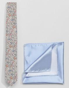 Галстук с принтом либерти и платок для пиджака Gianni Feraud - Мульти