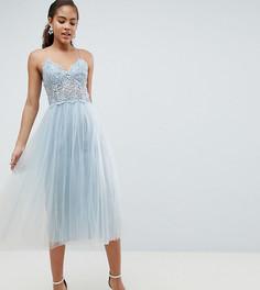 Платье миди с кружевным лифом ASOS DESIGN Tall - Синий