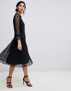 Платье миди с плиссированной юбкой и оборкой на вороте Little Mistress - Черный