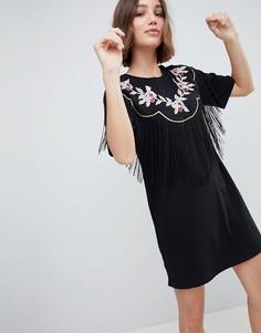 Платье-футболка в стиле вестерн с вышивкой и бахромой ASOS DESIGN - Черный