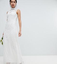Платье макси с декоративной отделкой Amelia Rose - Белый
