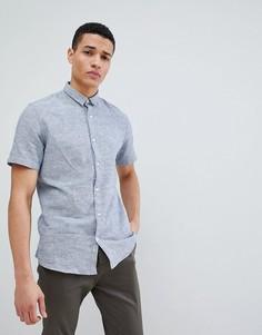 Рубашка с короткими рукавами из ткани с добавлением льна Only & Sons - Синий