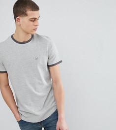 Облегающая футболка с контрастной отделкой Le Breve TALL - Серый