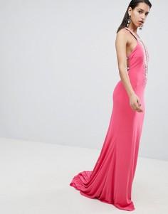 Платье макси с отделкой и глубоким вырезом Jovani - Розовый