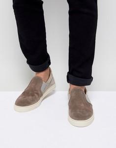 Замшевые кроссовки-слипоны Selected Homme - Серый