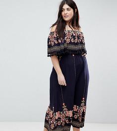 Платье макси с открытыми плечами и отделкой кисточками Brave Soul Plus Kaylee - Темно-синий