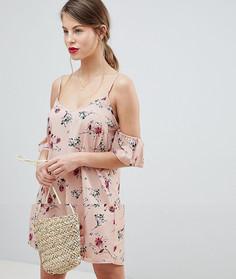 Платье с открытыми плечами и цветочным принтом Vila - Мульти