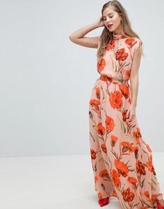 Платье макси с высоким воротом и цветочным принтом Y.A.S - Мульти