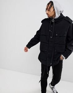 Черная куртка в стиле милитари с капюшоном Sixth June - Черный