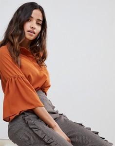 Блузка с рукавами клеш Love - Коричневый