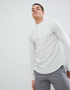Рубашка с добавлением льна и планкой до груди Only & Sons - Зеленый