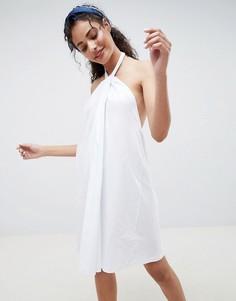 Свободное платье с перекрученным халтером ASOS DESIGN - Белый
