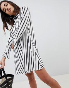 Платье-рубашка в полоску с длинными рукавами ASOS DESIGN - Мульти