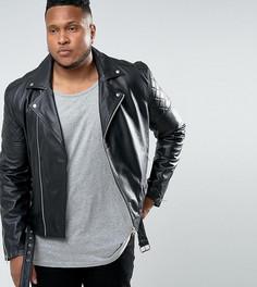 Кожаная байкерская премиум-куртка Barneys Originals PLUS - Черный