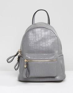 Мини-рюкзак с крокодиловым узором Qupid - Серый