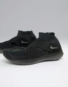 Мужские черные кроссовки Nike Running Free Run Motion Flyknit 2017 880845-003 - Черный