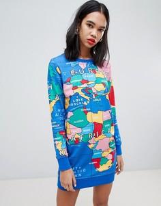 Трикотажное платье Love Moschino Around the Worlds - Мульти