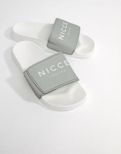 Шлепанцы со светоотражающим эффектом и логотипом Nicce London - Серый