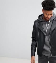 Черная байкерская куртка из искусственной кожи ASOS TALL - Черный
