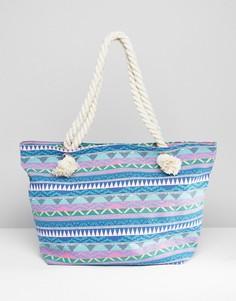 Синяя парусиновая сумка-тоут с веревочными ручками и геометрическим узором South Beach - Мульти