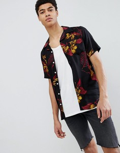 Рубашка с коротким рукавами, принтом и отложным воротником Only & Sons - Черный